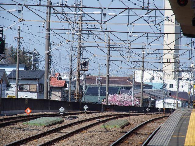 線路と線路沿いの賃貸アパート