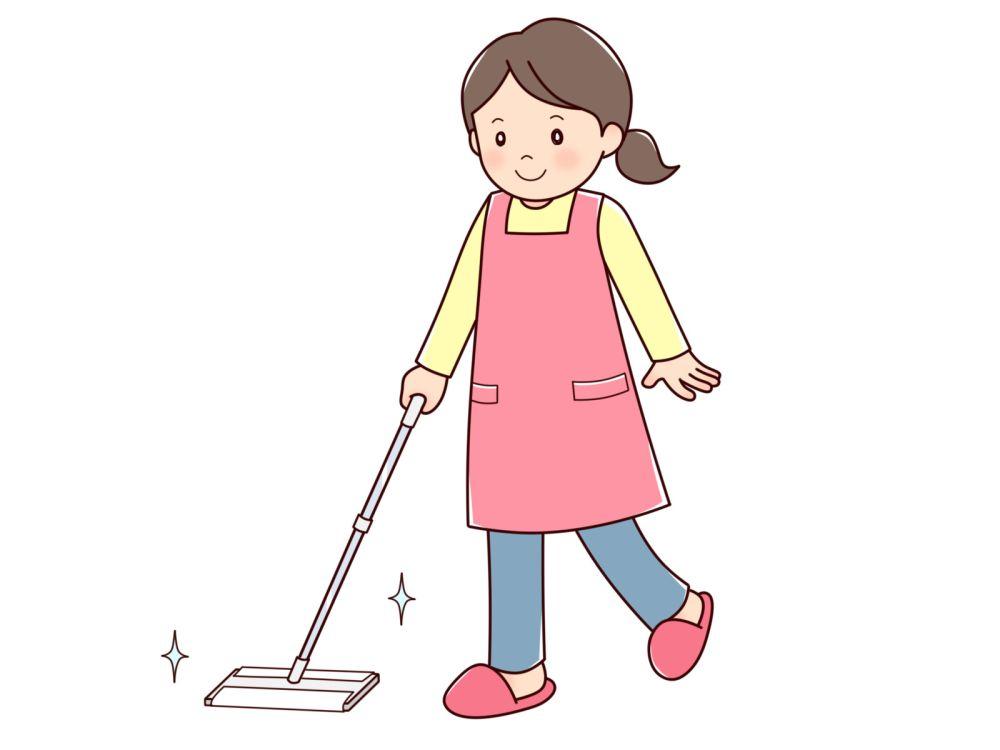 フローリングワイパーで床掃除をする人