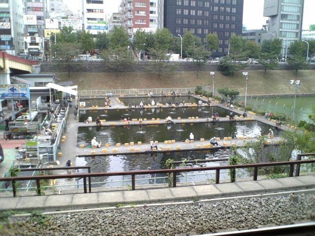 千代田区 市ヶ谷駅前の釣り堀