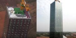 中国で建てられるプレハブ高層ビル
