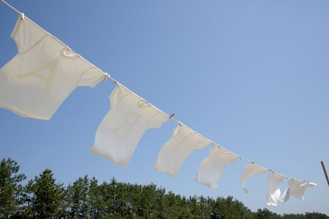 節水のためにまとめ洗いした洗濯物