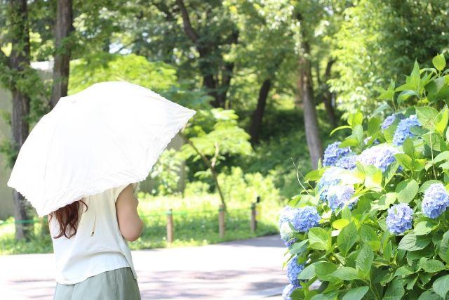 日焼け止めを塗って散歩に出る女性