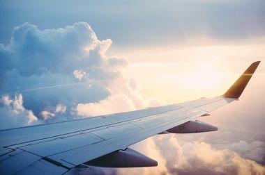 外国へ向かう飛行機の翼